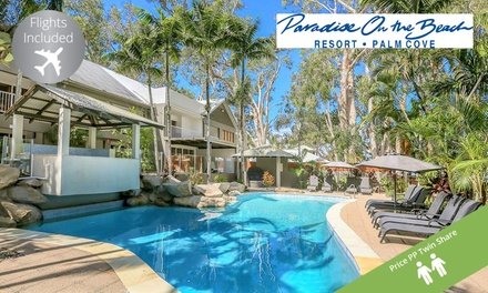 Cairns, Palm Cove: From $569 Per Person for 5-Night Stay with Flights, Wine and Late Check-Out at Paradise on the Beach