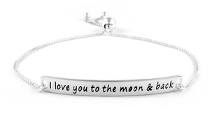 I Love You To The Moon Back Bracelet In Solid Sterling Silver