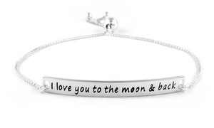"""I Love You to the Moon & Back"" Bracelet in Solid Sterling Silver"