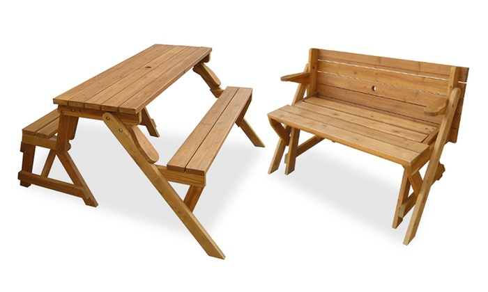 Fabulous Convertible Picnic Table Garden Bench Groupon Evergreenethics Interior Chair Design Evergreenethicsorg
