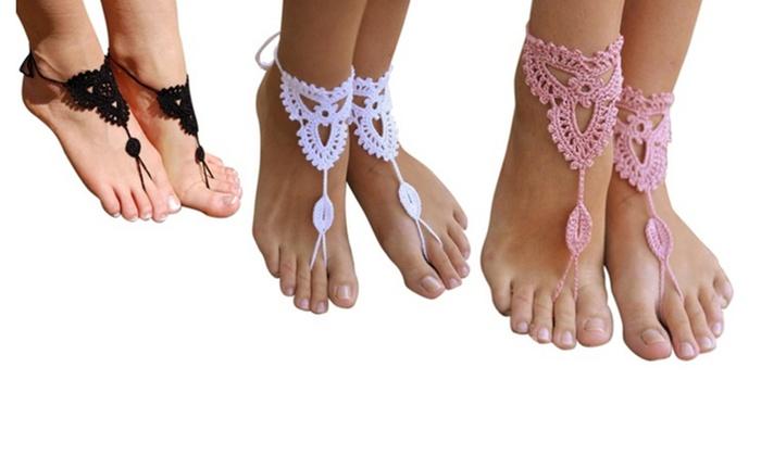 Vaak Tot 66% op Gehaakte blote voeten 'sandalen' | Groupon Producten &PD63