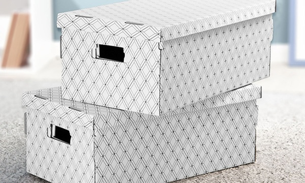 4 Ou 8 Boites De Rangement Pliables En Carton Imprime
