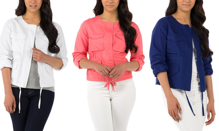 Sociology Women's Linen-Blend Utility Jacket  | Groupon Exclusive