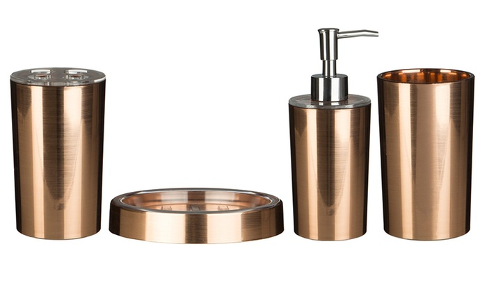 Rose gold bathroom set groupon goods for Rose gold bathroom accessories sets