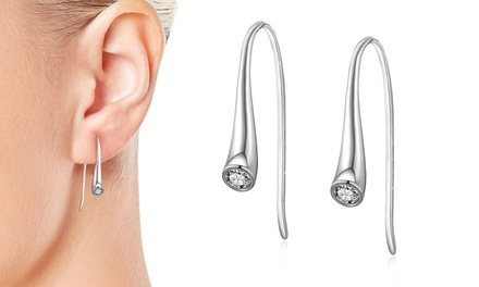One or Two Pairs of Philip Jones 925 Sterling Silver Teardrop Earrings with Crystal from Swarovski