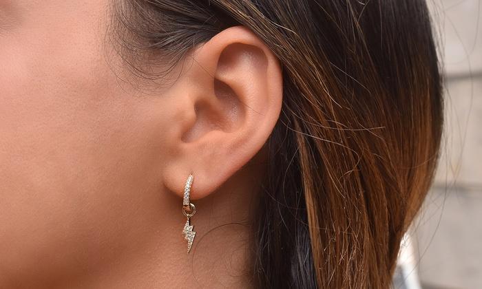 68fdad166 Lightning Bolt Cubic Zirconia Pave Huggie Earrings in 14K Gold Plating