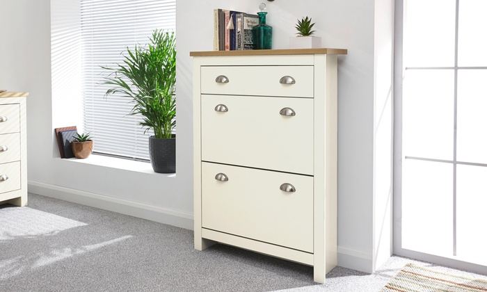 Two Tier Slimline Shoe Cabinet Groupon