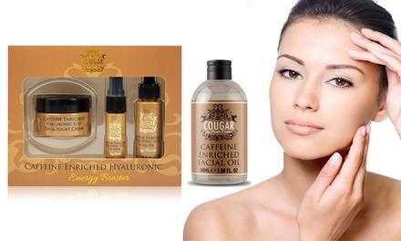Aceite o set de cuidado facial con ácido hialurónico y cafeína Cougar beauty