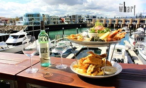 The Wharf Glenelg: Waterfront Seafood Platter + Bottle of Wine for Two ($85) or Four People ($169) at The Wharf Glenelg (Up to $338 Value)