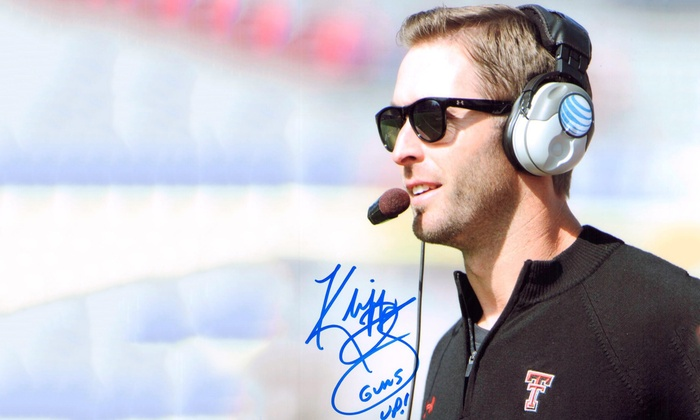 NCAA Kliff Kingsbury Texas Tech Autographed 8x10 Photo with Certificate of Authenticity