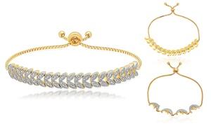 Diamond Bolo Adjustable Bracelets in 14K Gold Plated Brass