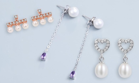 Pendientes de plata de ley adornados con perlas y/o cristales de corte de precisión Van Amstel