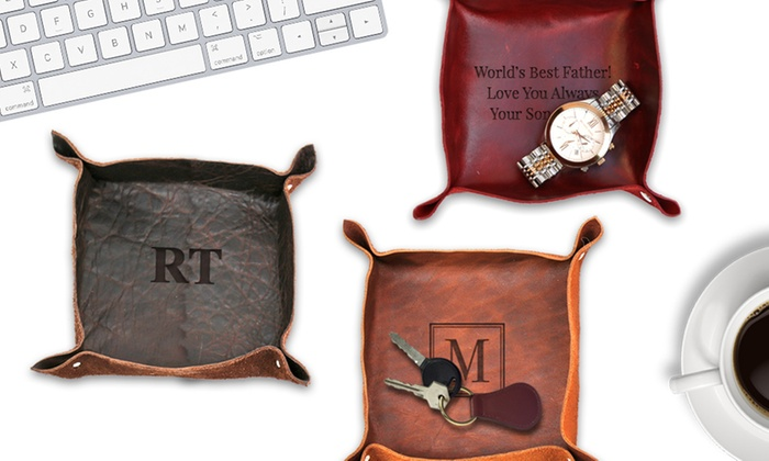 03297ad32bd Up To 85% Off on Personalized Leather Stash Tray | Groupon Goods