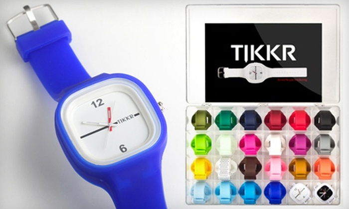 Tikkr Wristwatch and Bands: Tikkr Wristwatch with Two Interchangeable Bands or All Colors Package with Two Watch Faces and 23 Bands (Up to 66% Off)