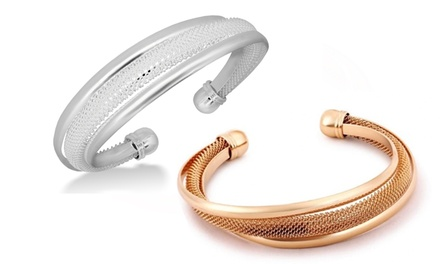 Clearance: Silver or Rose-Gold Plated Italian-Design Mesh Cuff Bracelet