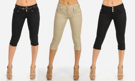 Women's Twill Capris in Junior Sizes