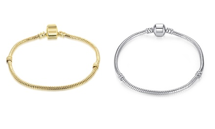 Pandora Inspired Snake Chain Bracelet in Silver or 18K Gold Plating