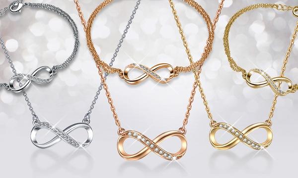 Collier et bracelet Infini de MESTIGE ornés de cristaux Swarovski®, 3  coloris au choix dès 12,99€, livraison offerte
