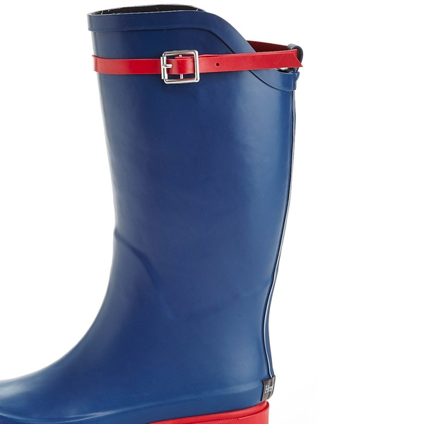 64d6974f45c Women's Two-Tone Pull-On Knee-High Rain Boots with Fashion Belt