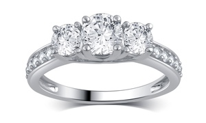 1.00 CTTW 3-Stone Diamond Ring in 10K White Gold by Brilliant Diamond