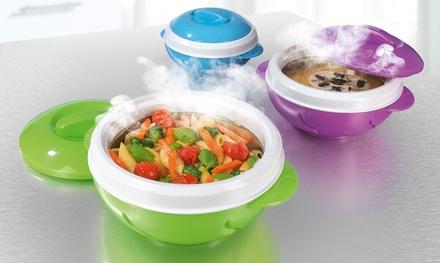 GOURMETmaxx 3-teiliges Thermoschüssel-Set jeweils mit Deckel zum Warm- oder Kalthalten von Speisen