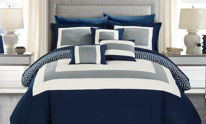 groupon bedroom in a bag. geometric pattern bed in a bag comforter sets (10-piece): colorblock or groupon bedroom