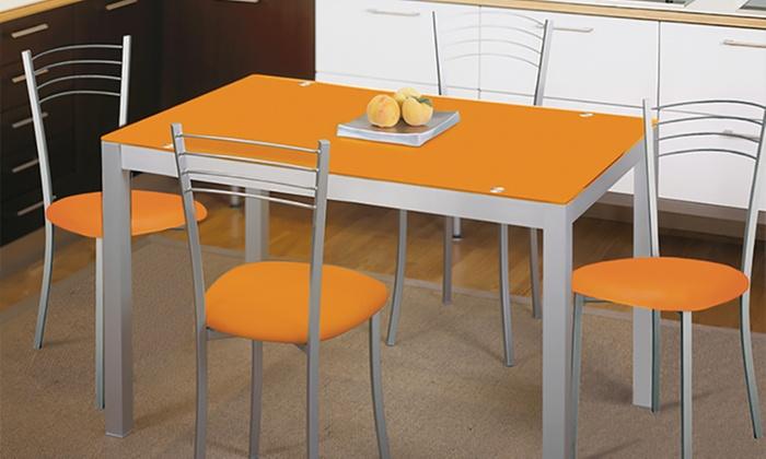 Mesa de cocina de cristal templado groupon - Mesa cocina cristal templado ...