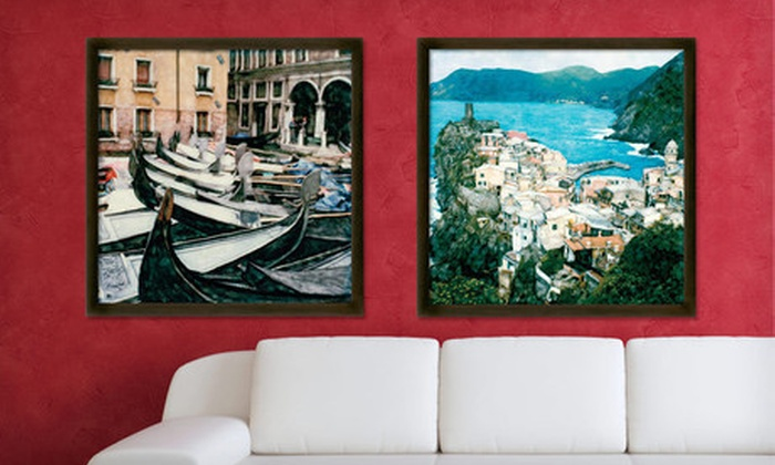 """Framed Vintage-Style European Landscapes: $49 for a 24""""x24"""" Framed Vintage-Style European Landscapes ($175 List Price). Free Shipping. 9 Options Available."""