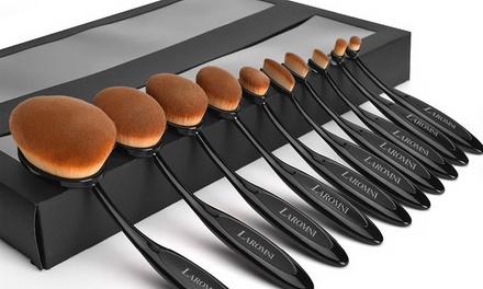 TenPiece OvalShaped MakeUp Brush Set