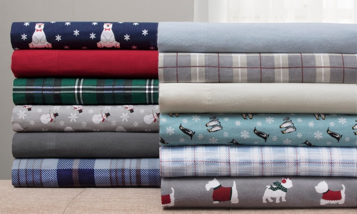 Clearance Wexley Home 100 Cotton Flannel Sheet Set Groupon