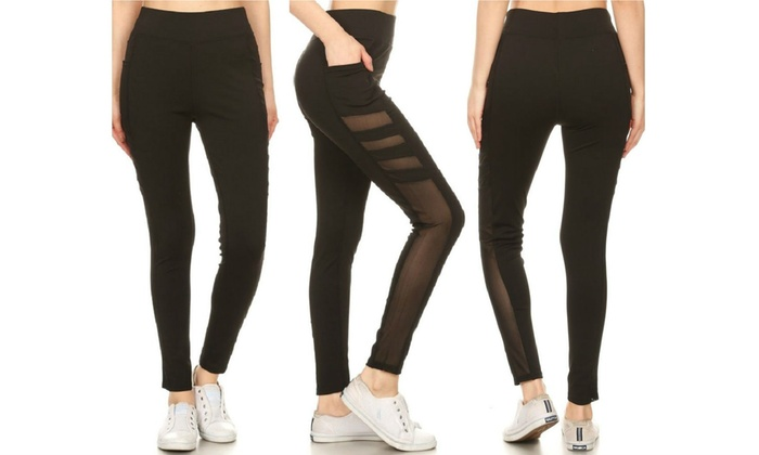 27c1b5e0ba Women's Active Sheer Mesh Panel Leggings with Pockets (3-Pack) | Groupon