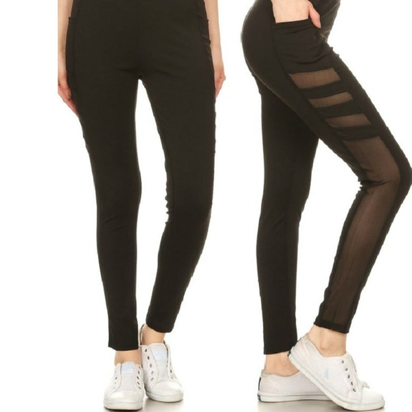 190aa870e70a44 Women's Active Sheer Mesh Panel Leggings with Pockets (3-Pack) | Groupon