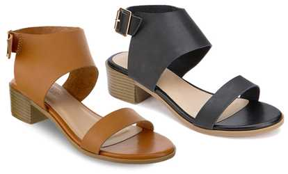 386e968ba4f4 Shop Groupon Olivia Miller Cocoa Women s Chunky-Heel Buckle Sandals