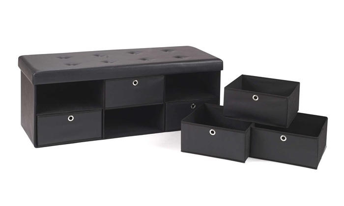 banc de rangement avec tiroirs groupon. Black Bedroom Furniture Sets. Home Design Ideas