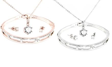 1 o 2 sets de joyería brazalete, pendientes y collar con colgante Capella decorado con elementos de Swarovski®