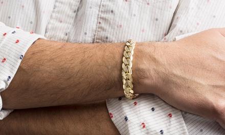 Men's 11MM Cuban Chain Bracelet in 14K Gold over Brass by Arturo Zeta