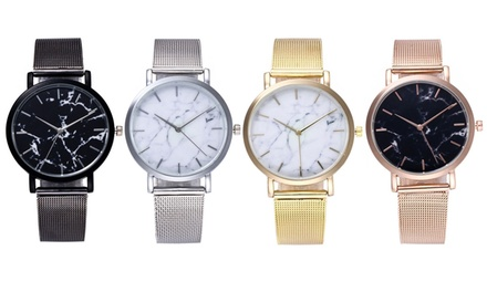 Stainless Steel Mesh Strap Marble Dial Watches