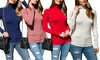 Women's Long Sleeve Turtleneck Knit Sweater. Plus Sizes Available.