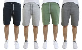 Men's Slim-Fit Tech-Fleece Shorts with Waterproof Zipper Pockets