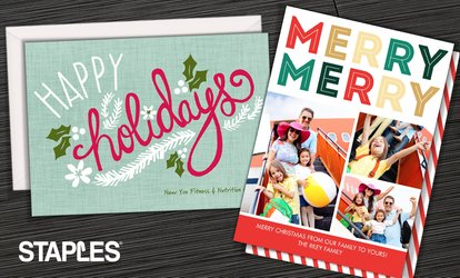 image for Custom Same-Day and Delivered Holiday Cards and Invitations from Staples (Up to 71% Off)