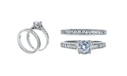Bague solitaire à double anneaux ornée de cristaux Swarovski®