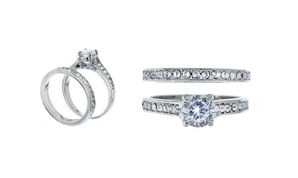 Bague solitaire à double anneaux cristaux Swarovski®