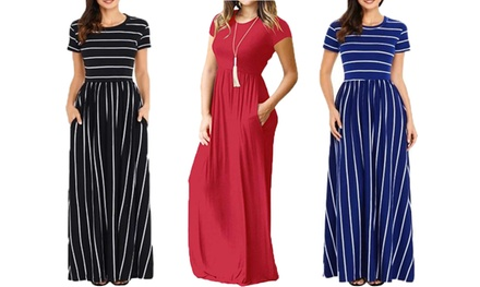 Short Sleeve Plain and Stripe Maxi Dress