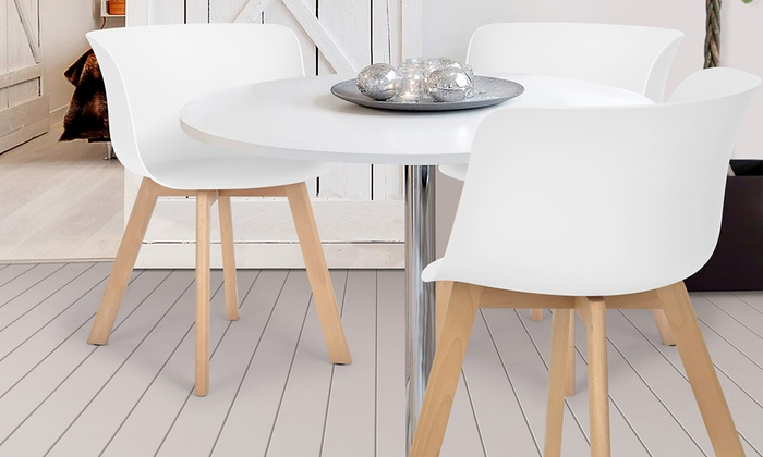 Design Chaise Scandinave En Pieds Blanche Avec Bois Nwvm8n0O