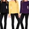 Women's Long-Sleeved Knit Peplum Top