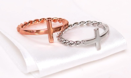 Solid Sterling Silver Braided Side Cross Ring
