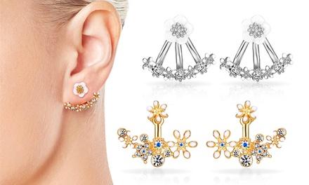 1x od. 2x Philip Jones Ohrringe mit Swarovski® Kristallen und Blumen  oder Gänseblümchen Motiv in der Farbe nach Wahl