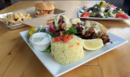 Greek Cuisine for Two or Four at Pangaea Dinosaur Grill/Opa Life Greek Cafe - Scottsdale (Up to 35% Off)