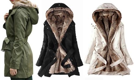Dameswinterjas met uitneembaar imitatiebont in kleur en maat naar keuze voor € 42,99 korting