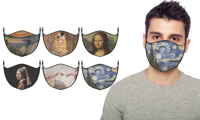 Famous Art Paintings Reusable Washable 2 Layer Face Mask 3 Pack Groupon